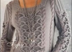 Ксения 68 - Модный джемпер с косами и жгутами вязаный спицами