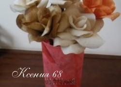 Ксения 68 - Розы из использованных кофейных фильтров. МК