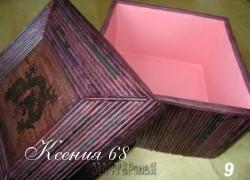 Ксения 68 - Шкатулка из картонной коробки и газетных трубочек.МК