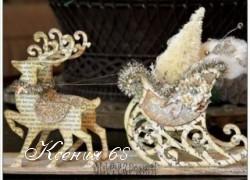 Ксения 68 - Новогодние сани с оленями из книжных страниц