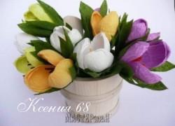 Ксения 68 - Крокусы из гофробумаги.МК