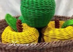Ксения 68 - Яблоко. Плетение из газетных трубочек