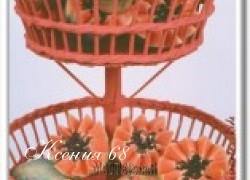 Ксения 68 - Корзина для фруктов. Плетение из газетной лозы. МК