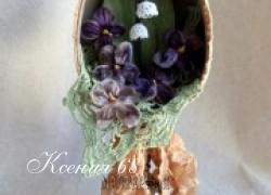Ксения 68 - Пасхальное яйцо с вязаными крючком ландышами