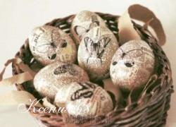 Ксения 68 - Винтажные яйца со шпагатом газетными и нотными страницами