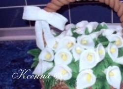 """Ксения 68 - Бисквитный торт """"Корзина с каллами"""" из сахарной мастики"""