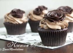 Ксения 68 - Шоколадные маффины с розами из шоколадной мастики