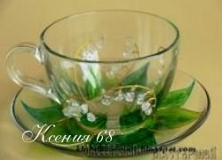 Ксения 68 - Рисунки на стекле: ландыши.
