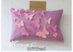 Ксения 68 - Подушка на диван с бабочками из фетра