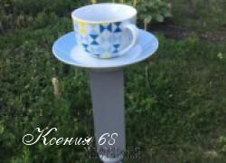 Ксения 68 - Кормушка для птиц из чайной пары и балясины