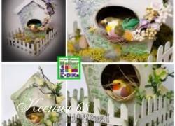 Ксения 68 - Скворечник из картона, палочек от мороженого и яичной скорлупы