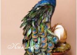 Ксения 68 - Потрясающий павлин из бумаги, перьев и газетных трубочек