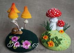 Ксения 68 - Вяжем крючком игольницу По грибы