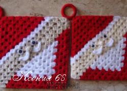 Ксения 68 - Прихватки, салфетница и кружево Дед мороз