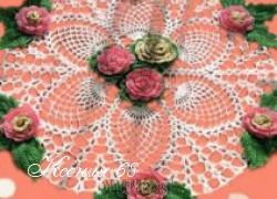 Ксения 68 - Салфетка с розами (крючком)
