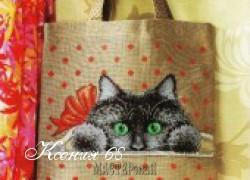 Ксения 68 - Сумка из мешковины с котенком. Схема вышивки