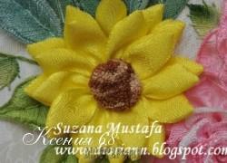 Ксения 68 - Цветок. Вышивка лентами. МК от Susana Mustafa