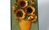 Ксения 68 - Бумажные подсолнухи с серединкой из крупы и фасоли.МК