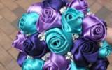 Ксения 68 - Свадебный букет роз из атласных лент