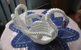 Ксения 68 - Лебедь. Косое плетение из газетной лозы. МК