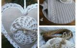 Ксения 68 - Текстильные сердечки с кружевом крючком