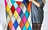 Ксения 68 - Плед, связанный разноцветными ромбами. Схема