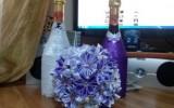 galunya2009 - Свадебная композиция(букет невесты,бутылочки,бокалы)