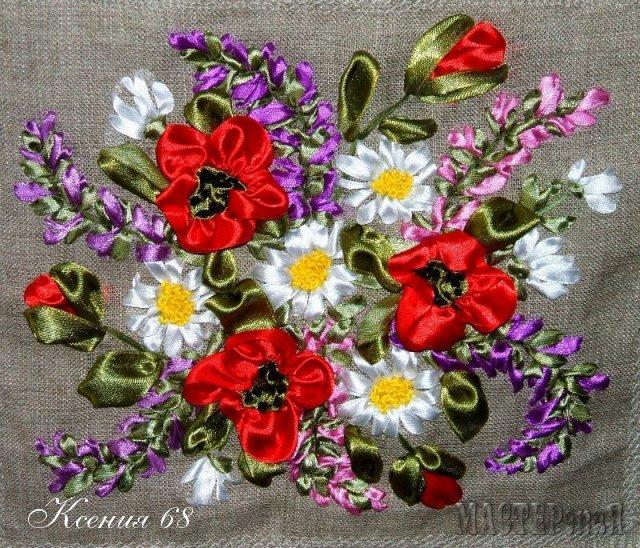 Вышивка лентами цветы на
