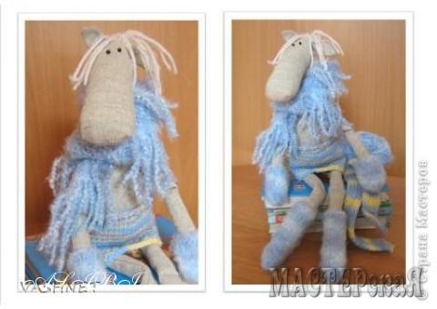 Идею такой лошадки по выкройке Тильдовского лося когда-то увидела в интернете. Только те лошадки были одеты в сарафанчики, а моя уезжала в Сибирь, потому и одела её потеплее. Грациозная девочка.
