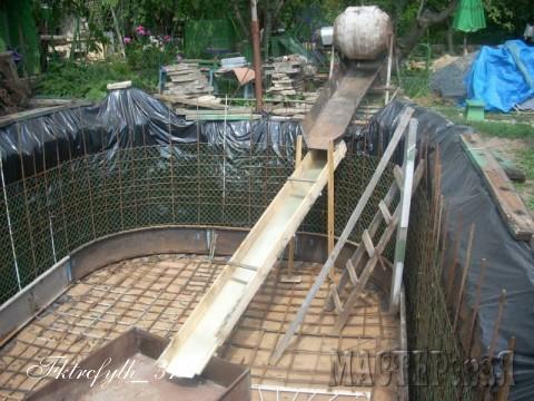 Ну вот все готово к бетонированию. Опалубка зафиксирована распорками к арматуре дна, бетономешалка установлена, желоба и корыто готовы принять первую порцию бетона.