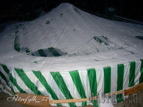 Под таким шатром чаша зимовала первую зиму сухая. В дальнейшем оставляю почти полный воды и притапливаю пластиковые канистры с воздухом. Уже три зимы все в порядке. (Морозы были до 25-27градусов).