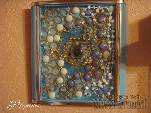 Стеклянные капли белого, синего цветов, обрывки металлических цепочек, кольца. В центре часы с синим циферблатом.