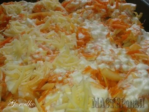 Сверху посыпаем тертой морковочкой,смешанной с  лучком полукольцами.Поливаем слегка разведенным до состояния кефира майонезом и посыпаем тертым сыром (любым, какой завалялся в холодильнике). Все это в духовочку минут на 20-30 (что-бы подрумянилось)