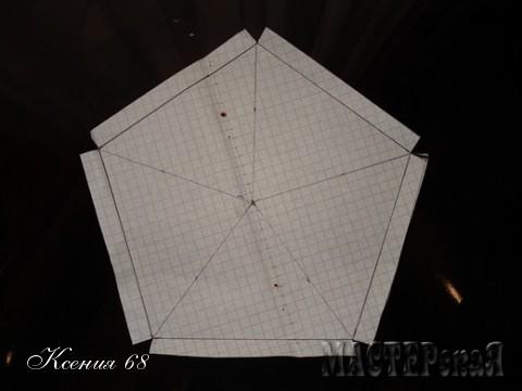 Из бумаги вырезала вот такие выкройки. Длина каждой стороны этого пятиугольника- 10 см и  1-1,5 см для бортика.
