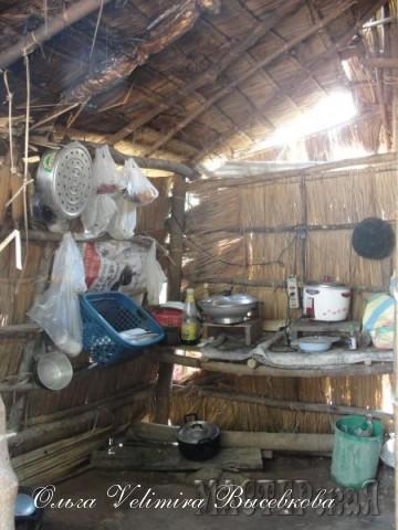 А это что-то среднее между сараем, жилым домом и летней кухней
