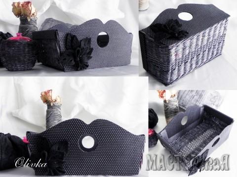 Передние стеночки сделаны из картона и обтянуты тканью. Дно и боковины плетеные.