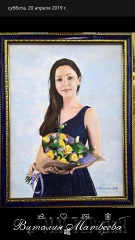 """Портрет """"Девушка с цветами"""".  Акриловые краски. Холст 30*40"""