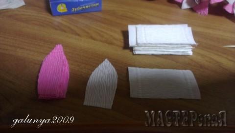 Берем бумагу,отрезаем полоски 3 см. и потом их разрезаем на прямоугольники по 6 см. И вырезаем форму листочков как на фото.Верхний край липеска загиваем на шпашку или что найдетене небольшое и круглое. Низ у лепестка немного растягиваем что бы конфетка легла хорошо. Конфетки приклеиваем скотчем к шпашке или зубочистке, смотря какую высоту хотите сделать у цветка. Потом приклеиваем липестки  белые потом розовые я клею пистолетом . Вот как то так написала))))