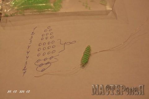 Плетется так же, как лепесток Ряды: 1, 2, 3, 4 (бесконечно, зависит от длины листика), 3, 3, 3, 2, 1.