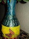 Бабочки-декупаж,роспись-полныйэкспромт  Вазочкасделанаизпластиковойбутылки