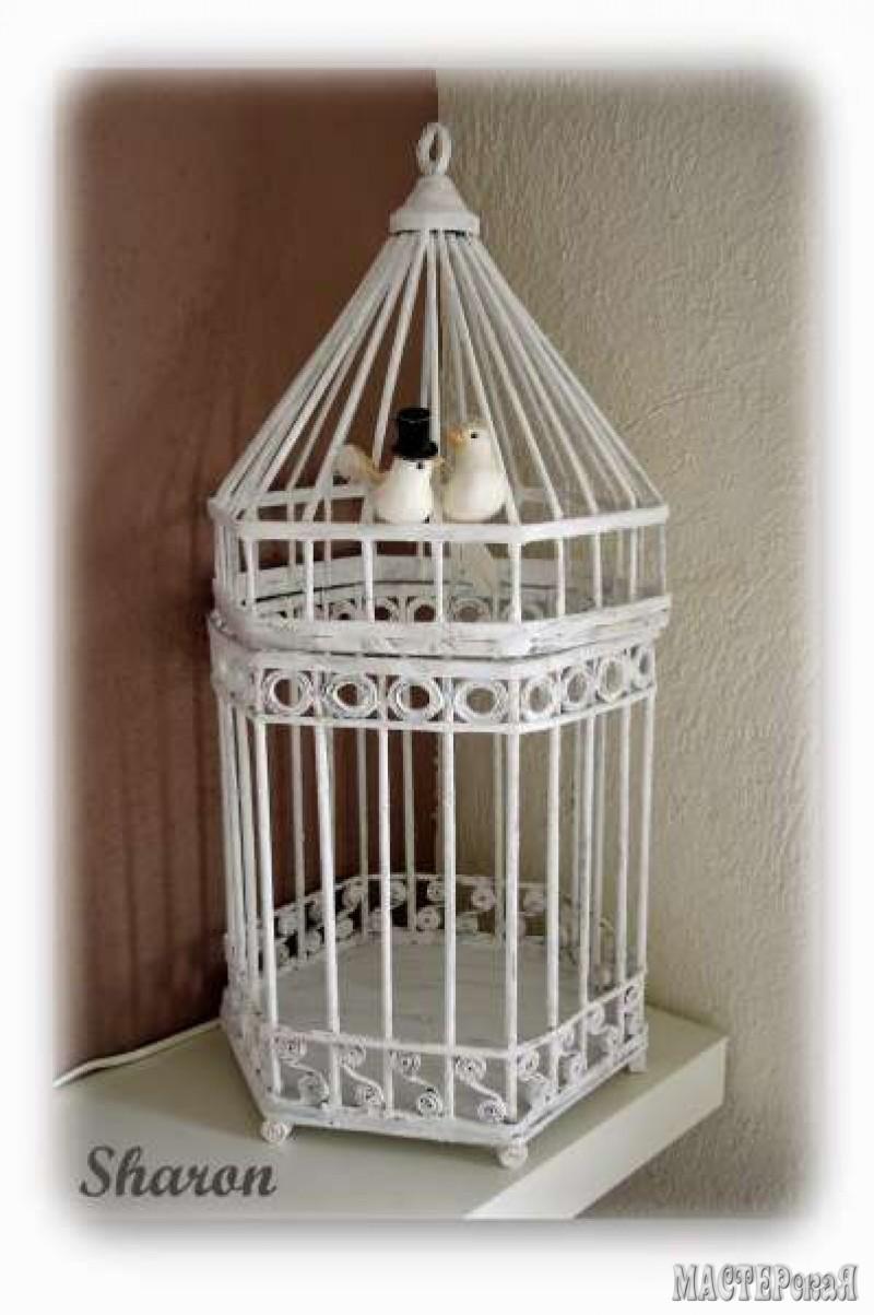 Клетка для птиц декоративная  из газетных трубочек