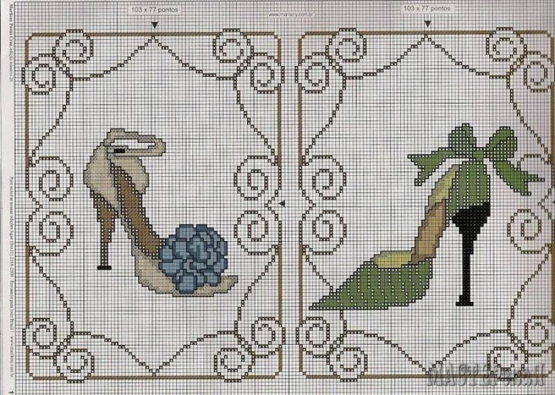 Схемы для вышивки крестом туфелька