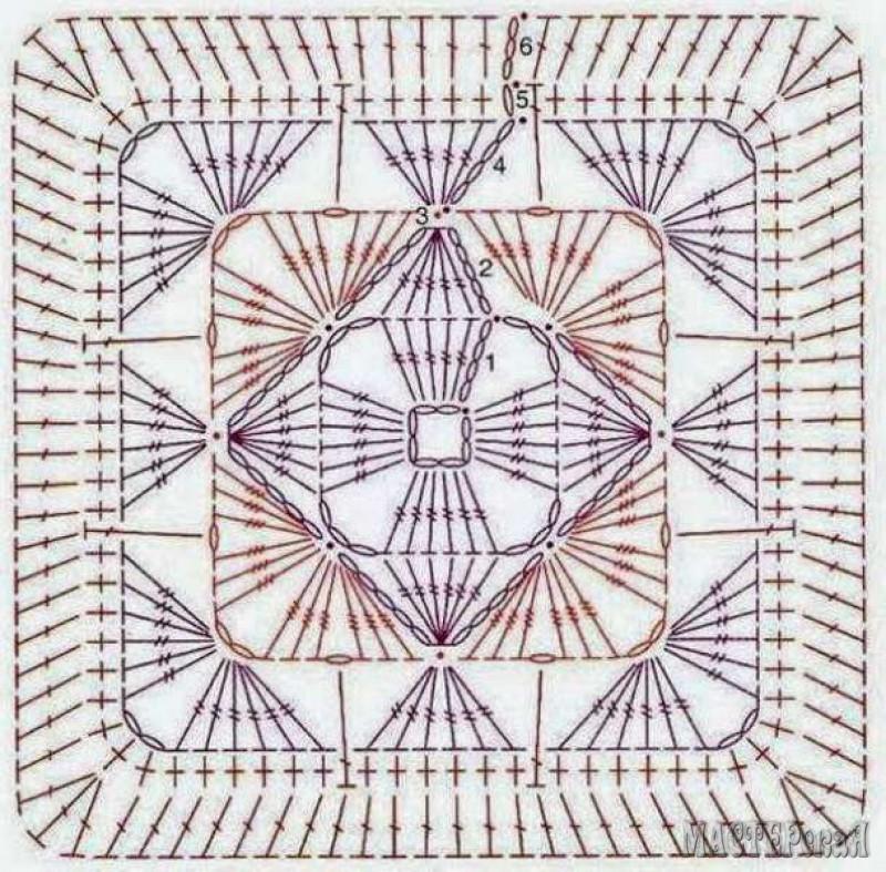 Мастер классы по вязанию квадратов крючком 116