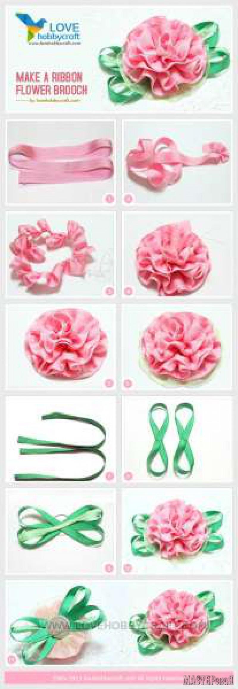 Как делать цветы из ленты
