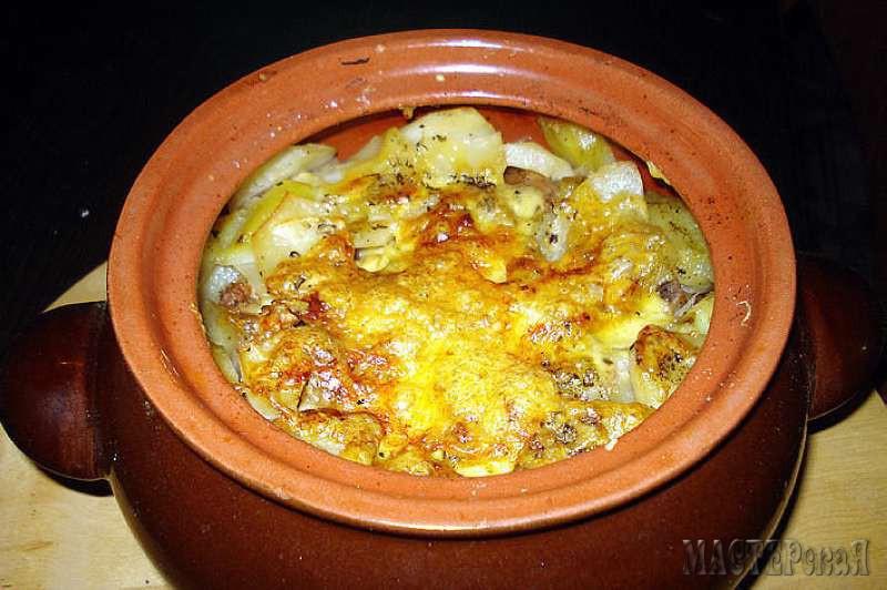Рецепт приготовления мяса в горшочках в духовке с грибами