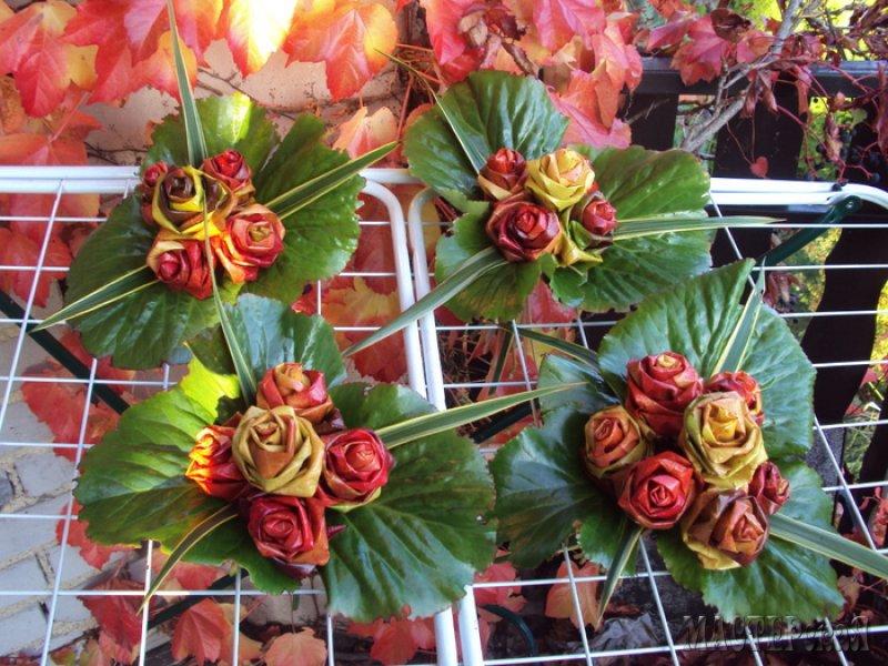 Цветы из листьев клена своими руками 77