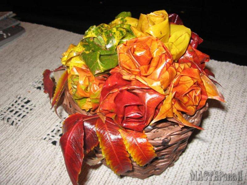 Цветы из листьев клена своими руками 84