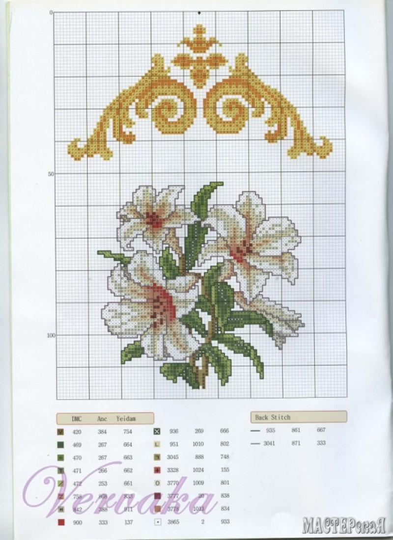 схема для вышивания салфетки крестиком цветы