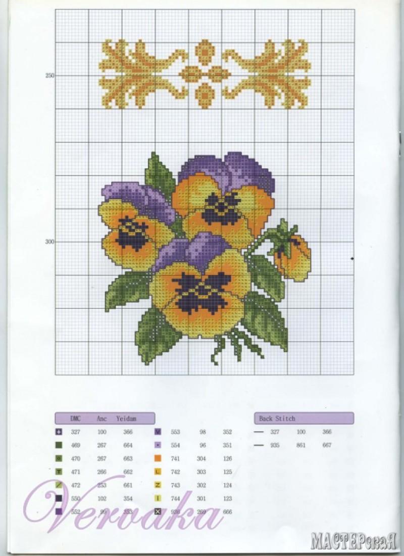 Схемы вышивки цветов на салфетках